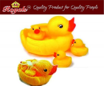 Royals Squeeze Chu Chu Sound Bathtub Toys for Toddler Kids (4 PC Duck Family)