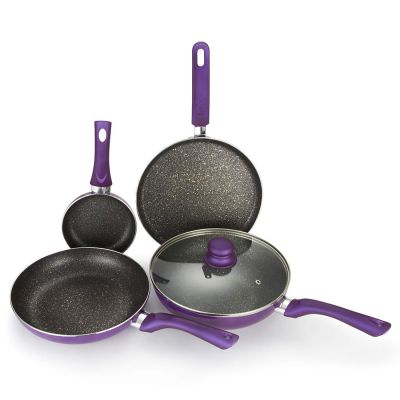 Bergner Set of 5 Pressed Alluminium Cookware Set in Purple Colour by HomeTown