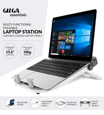 Portable & Foldable Laptop Stand in Silver Colour by Gizga Essentials