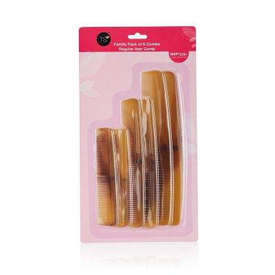 TS Plastic Combs Family Pack, with Pack of 6