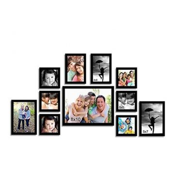 Black Synthetic Wood wall photo frame set of 11 By Art Street