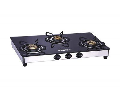 MILTON Sapphire Stainless Steel Black Toughened Glass Top Gas Stove - 3 Burner