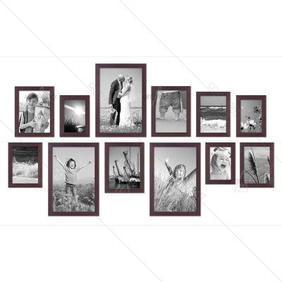 Artzfolio Wall Photo Frame Dark Brown Set of 12 Pcs