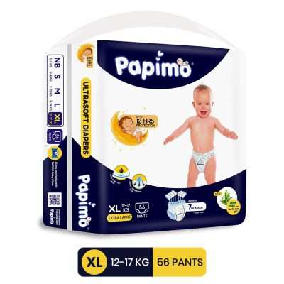 Papimo Diapers with Aloe Vera , X-Large, Blue, 56 Count