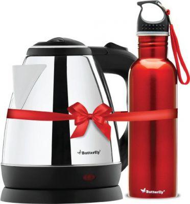 Butterfly Rapid Electric Kettle (1.5 L, Black) & Wave 750ml water bottle