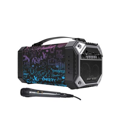 Ant Audio Rock 150, 15 watts, Bluetooth Party Speakers with FM Radio, Micro SD Card, USB, MIC and Aux 3.5 mm Support, Microphone for Karaoke Machine, LED Lights and Subwoofer