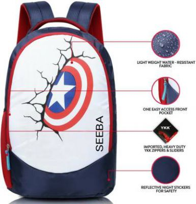 SEEBA Unisex Stylish Designer Printed Captain Shield School, Collage, and Multipurpose Waterproof Backpack