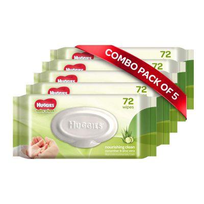 Huggies Baby Wipes - Cucumber & Aloe, Pack of 5 (360 wipes)...