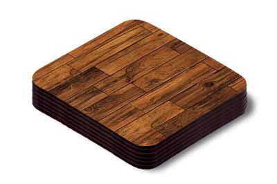 Khirki Designer Coasters for Dining Table (Set of 6, Wood) (A)