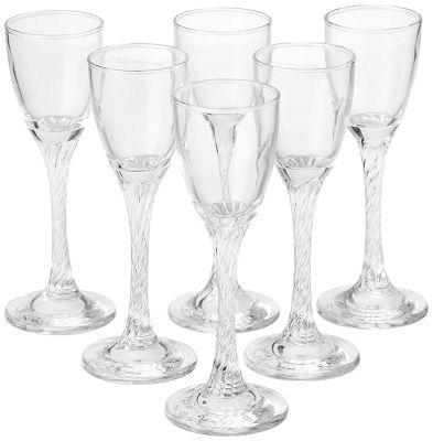 Pasabache Twist Shot Glass Set, 55ml, 6-Pieces, Transparent