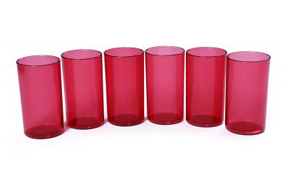 Signoraware Crystal Clear Big Glass Set, Set of 6, 1.92 litres, Wine Red