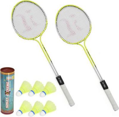 Roxon Phantom Badminton Racquet Set Of 2 Piece With 6 Piece Suney Extrerme Nylon Shuttle Badminton Kit