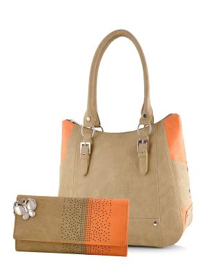 Butterflies Women's Handbag and Wallet Combo (BNS WB0252, Beige and Orange)