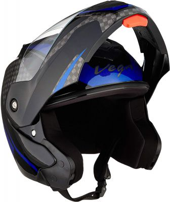 Vega Crux DX Checks Full Face Helmet (Black and Blue, Large)