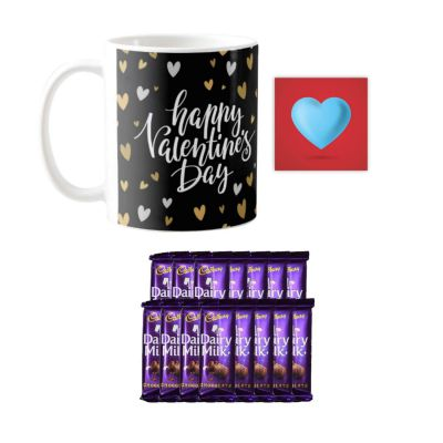 YaYa cafe Happy Valentines Day Gifts for Girlfriend Boyfriend Husband Wife Mug, 10 Dairy Milk Chocolate, with Coaster