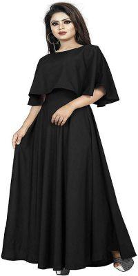 Srutisha Fashion Women's Clothing Crepe Red Long Gown (Black)