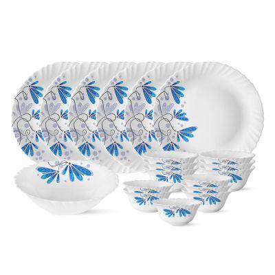 Larah by Borosil Twilight Silk Series Opalware Dinner Set, 19 Pieces, White