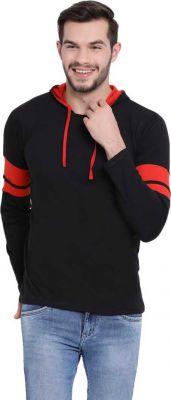 Vimal Jonney Solid Men Hooded Neck Black T-Shirt