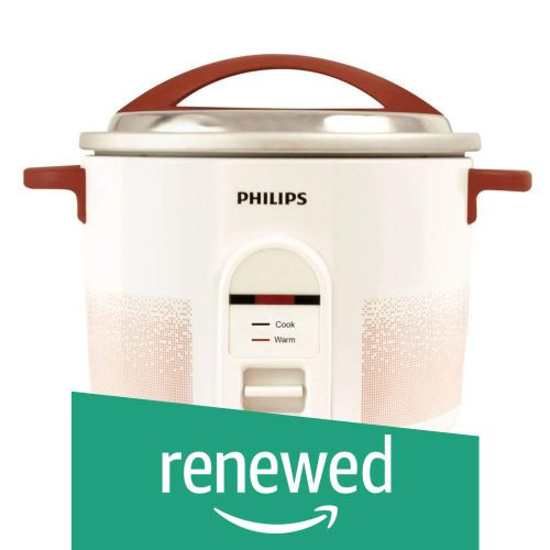 (Renewed) Philips HL1663/00 1.8-Litre Electric Rice Cooker (White/Red)