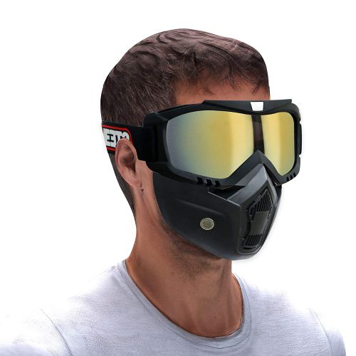Steelbird 7Wings 3 in 1 Face Shield,Goggles with Detachable Mask, Full Face and Mouth Protection Suitable for Every Use (Pack of 1)