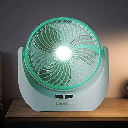 Piesome Powerfu Rechargeable Table Fan with LED Light, Table Fan for Home, Table Fans, Table Fan for Office Desk
