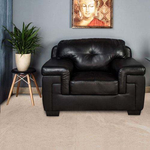 Home Centre Akron Faux Leather Sofa -1 Seater Black