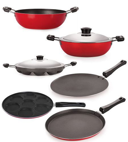 Nirlon Non-Stick Coated Dishwasher Safe 6 Piece Aluminium Cookware Combo Offer Set with Steel Lid