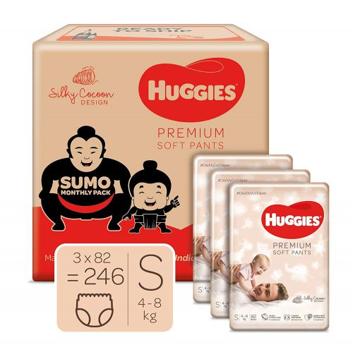 Huggies Premium Soft Pants, Sumo Monthly Box Pack Diapers, Small Size, 246 Count
