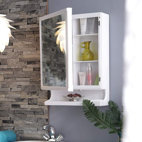 Happer Premium Wall Mounted Mirror and Storage Cabinet, Look (White)