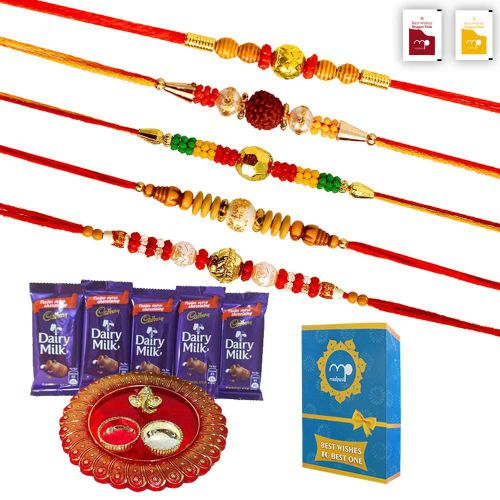 Maalpani Rakhi Set of 5 - Chocolates and Pooja Thali - Rakhi Gift Set