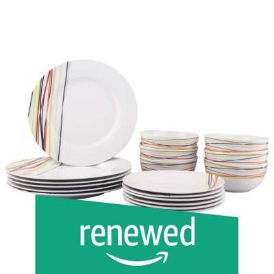 (Renewed) AmazonBasics 18-Piece Dinnerware Set - Warm Beams, Service for 6