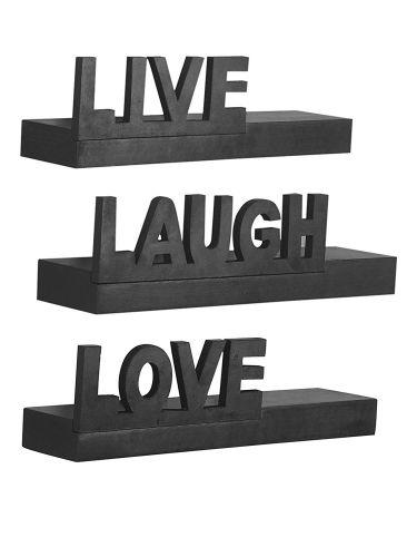 Home Sparkle Floating Wall Shelf | Live Love Laugh Wooden Shelves- Set of 3 (Black)
