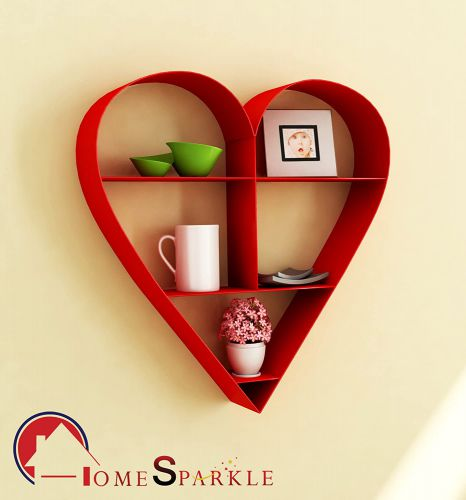 Home Sparkle Heart Shaped Wall Hanging Rack Mild Steel (Red)
