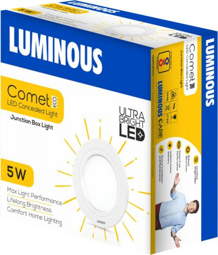 Luminous 5 W Comet Eco LED Concealed R Recessed Ceiling Lamp