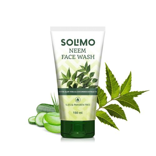 Amazon Brand - Solimo Neem Facewash with Aloe & Cucumber Extracts, SLES & Paraben Free, 150 ml
