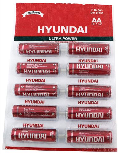 HYUNDAI Carbon ZINC RED HIGH Power R6 AA Battery (Pack of 10 Strip)