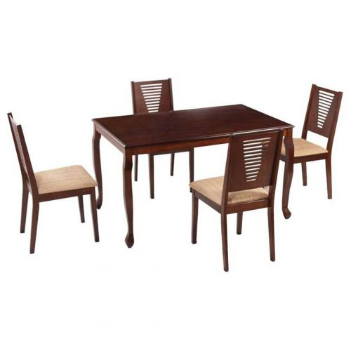 Woodness Roxa Premium 4 Seater Solid Wood Dining Table Set (Matte Finish, Wenge)