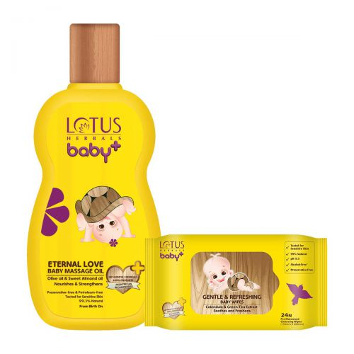 Lotus Herbals Eternal Love Baby Massage Oil & Gentle 200 ml and Refreshing Baby Wipes 24 Count