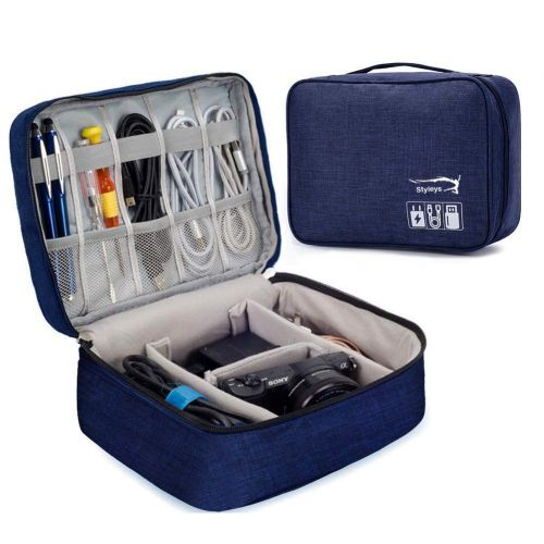 Styleys Gadget Organizer Case, Portable Zippered Pouch for All Small Gadgets, Hdd, Power Bank and Adapters, USB Cables (Navy Blue - S11005)
