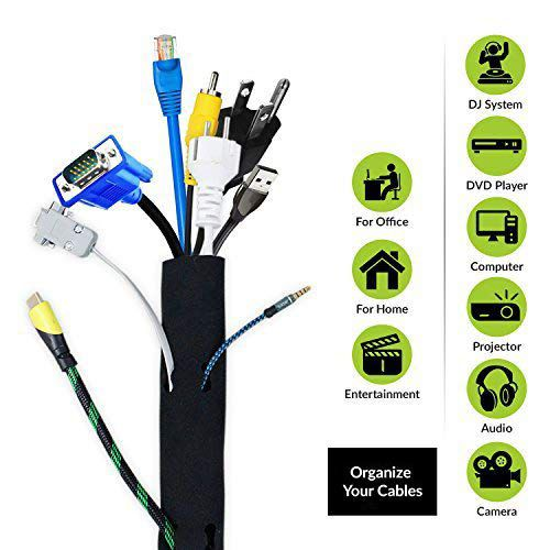 ELV Direct Cable Organiser Manager Cord Management System Sleeve for TV, Computer, Home Theatre, Speaker, Hdmi, Cables with Zipper (19 Inch / 48Cm)