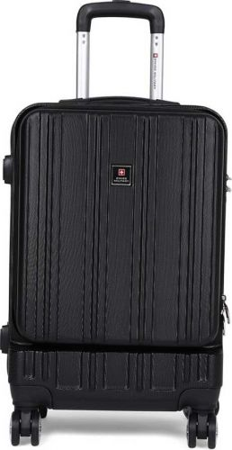 Swiss Military HTL79- 20INCH- TROLLEY BAG WITH USB CHARGING PORT Cabin Luggage - 55 cm (Black)