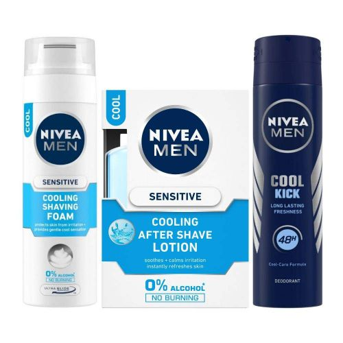 Nivea Sensitive Cooling Shaving Foam, 200ml and After Shave Balm, 100ml with Cool Kick Deodorant, 150ml