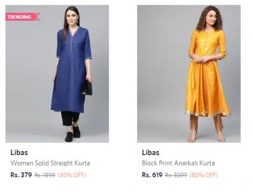 Libas Women's Kurtas at Minimum 80% Off