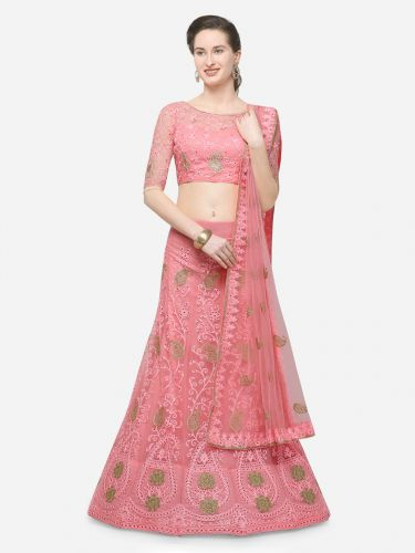 V SALES Pink Semi-Stitched Lehenga & Blouse with Dupatta
