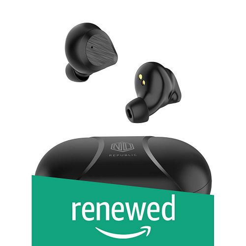 (Renewed) Nu Republic Starbuds True Wireless Earbuds, BT V5.0, Up to 20hrs Play Time, Touch Control, Water Resistant, Voice Assistant with Mic-Black