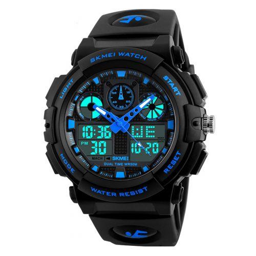 Skmei S-Shock Blue Multi-Functional Analog Digital Sports Watch for Men's & Boys