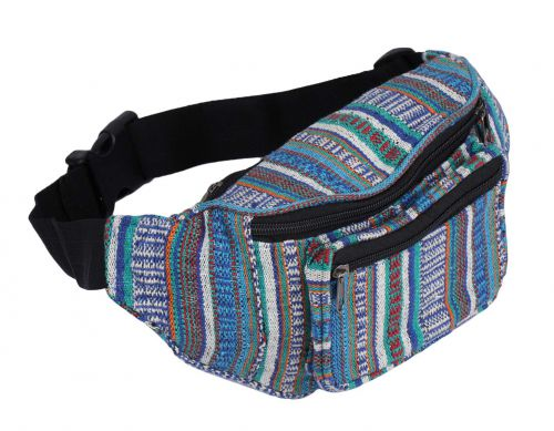 K London Stylish Canvas Dari Woven Multi Colored Ethnic Design Waist Pack Waist Pouch