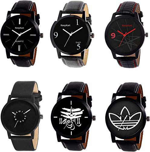 Harmi Creative Designer Dial and Multicolor Leather Straps Analogue Mens Watches Gift Pack Combo (Pack of 6)