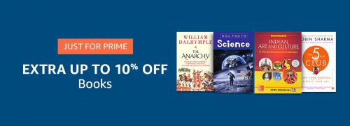 Extra Up to 10% Off on Books for Prime Members