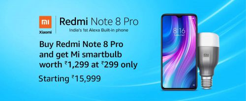 Get Mi Smartbulb Worth Rs.1299 @ Rs.299 with Redmi Note 8 Pro